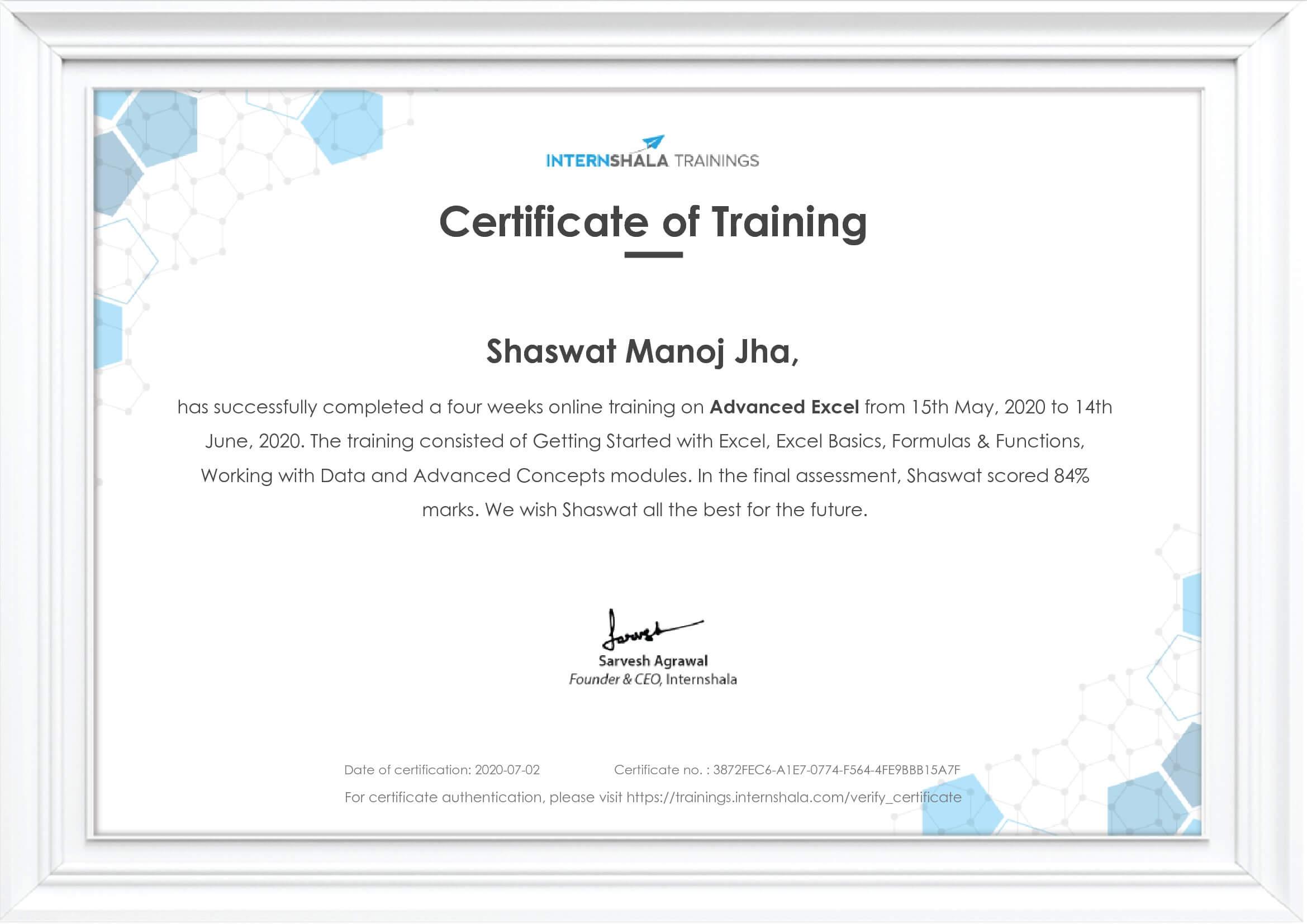 Shaswat Advanced Excel Internshala Certificate