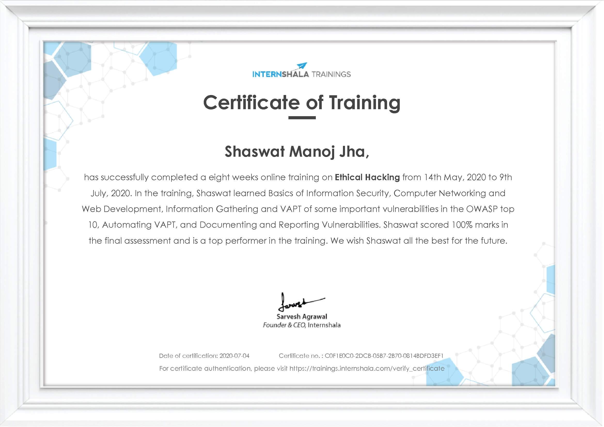 Shaswat Ethical Hacking Internshala Certificate