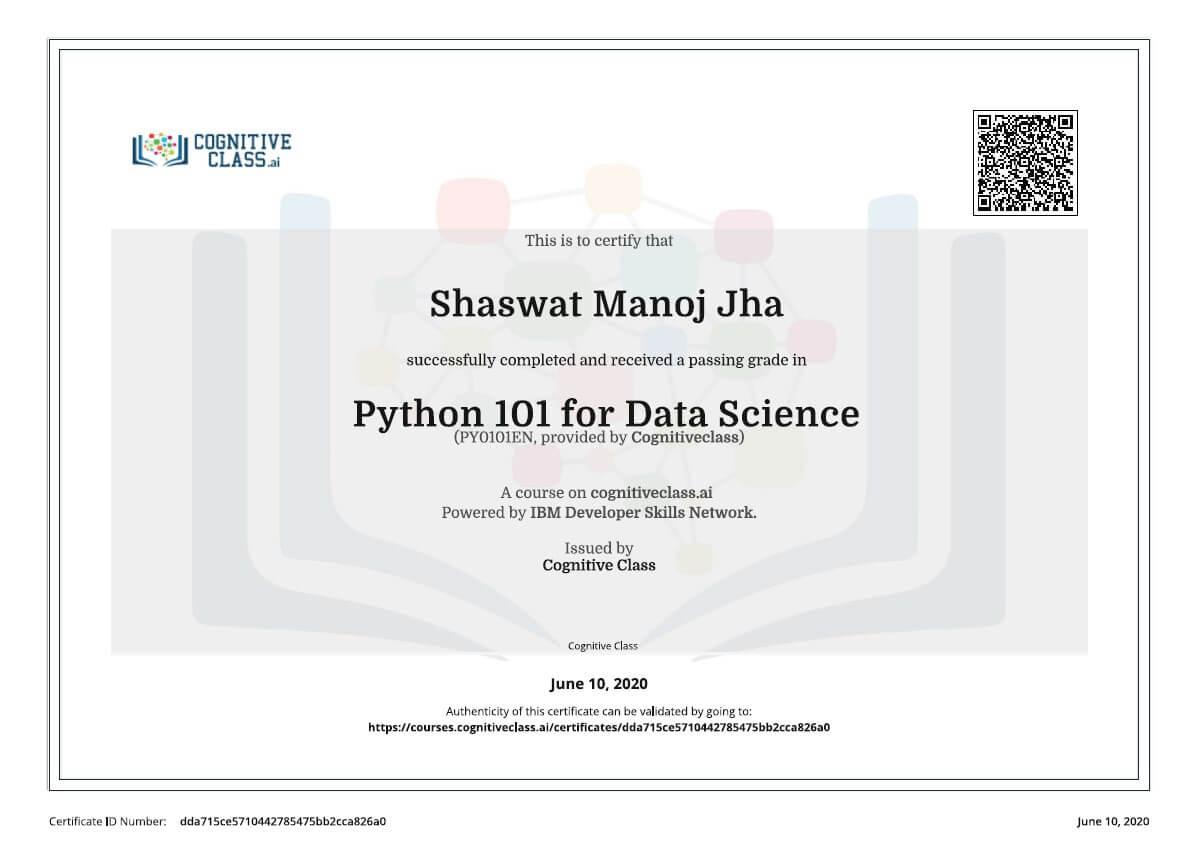 IBM Python 101 for Data Science Shaswat Certificate