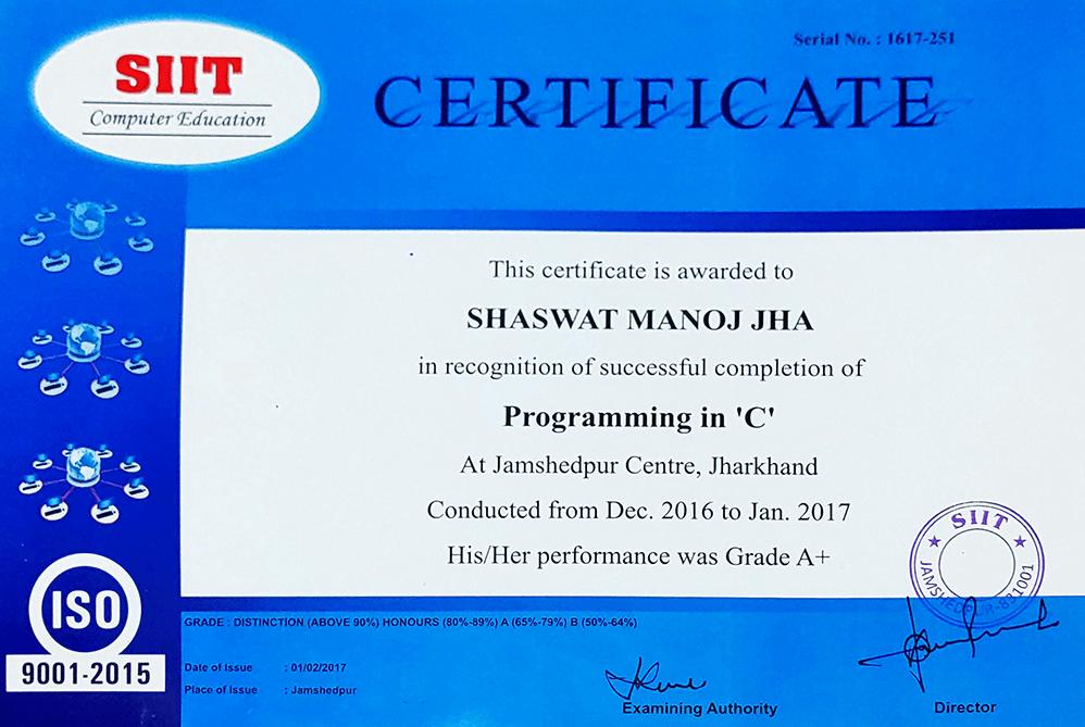 Shaswat C Programming SIIT Jamshedpur 2016